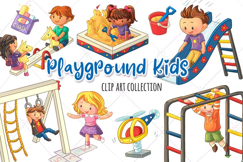 Daycare clipart chalk art. Playground kids clip collection