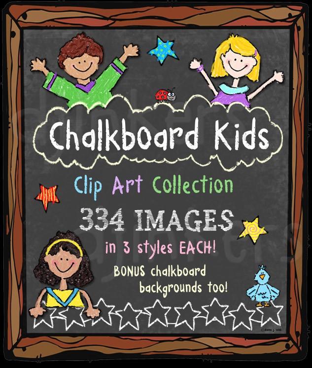 Kids clip in a. Daycare clipart chalk art
