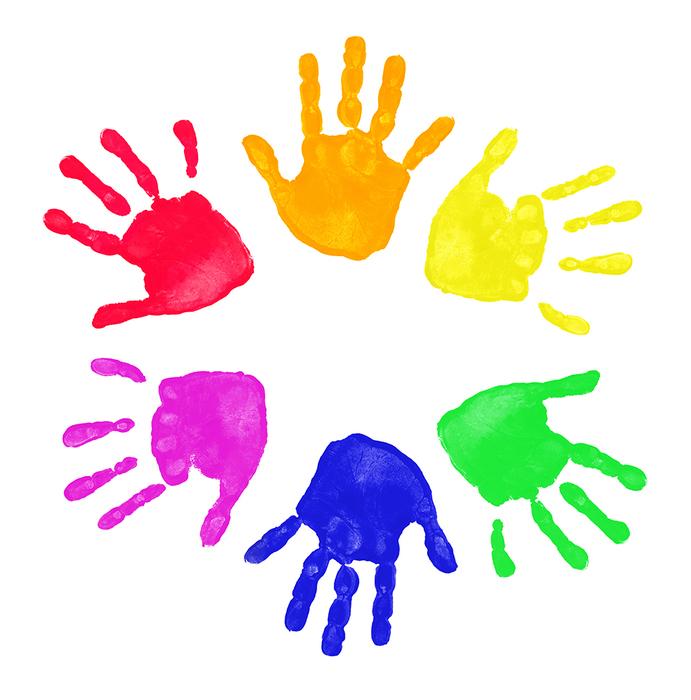 Little people preschool daycare. Handprint clipart day care