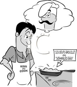 A man cooking and. Daydreaming clipart