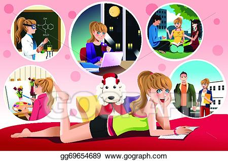Daydreaming clipart dream school. Vector stock student about