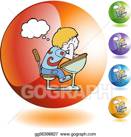 Daydreaming clipart student testing. Vector illustration stock clip