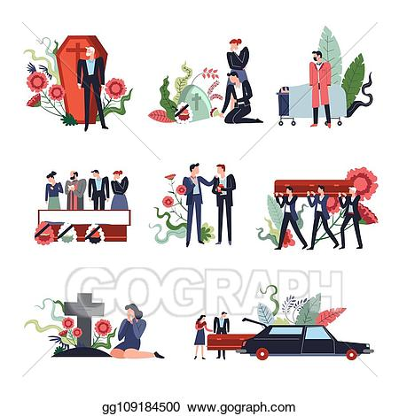 Eps vector ceremony people. Funeral clipart sad