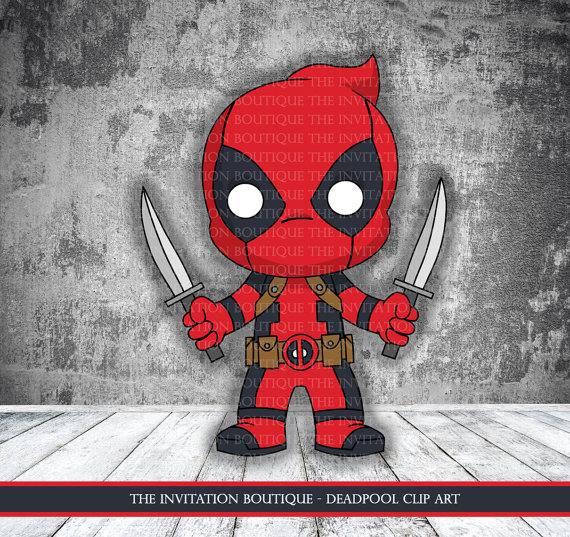 Chibi instant download . Deadpool clipart