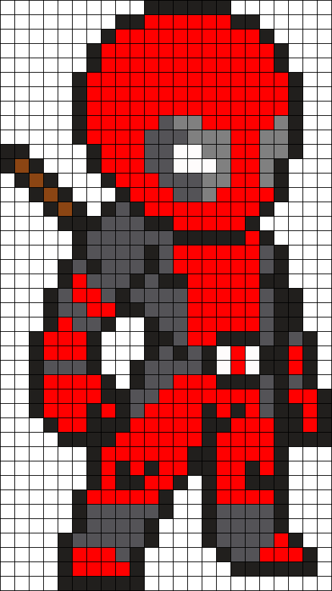 Deadpool Perler Bead Pattern / Bead Sprite | cute | Pinterest | Bead ...