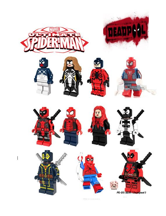 Custom made and spidergirl. Deadpool clipart spiderman lego