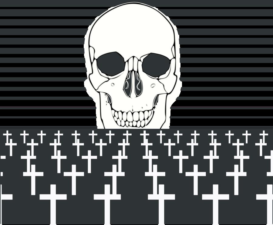 Skull cartoon text head. Funeral clipart mortality
