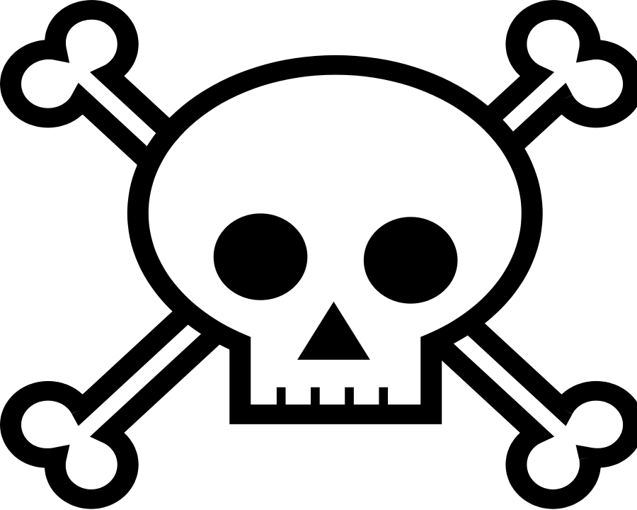 Skull black and white. Death clipart scull