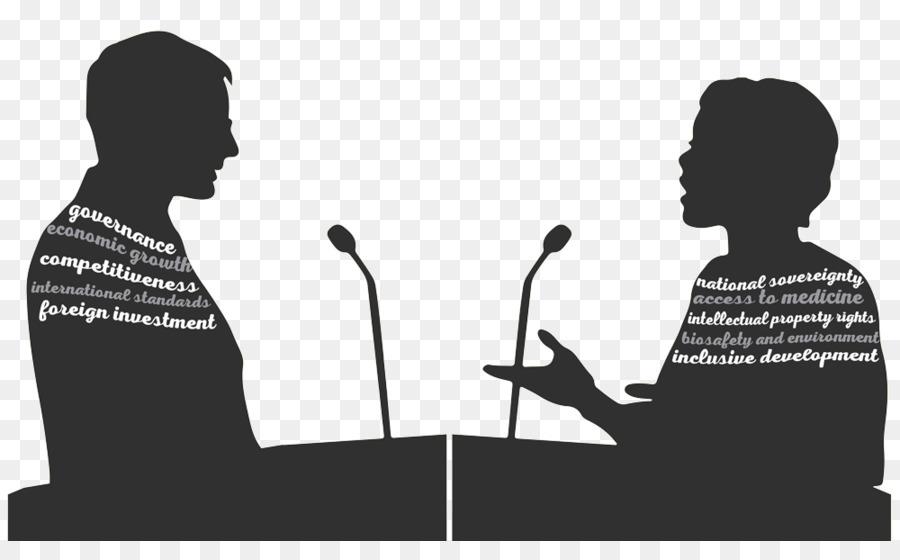 Silhouette public speaking microphone. Debate clipart