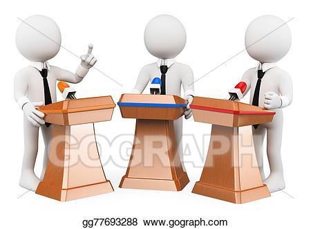 Politics clipart debate. Stock illustrations d white