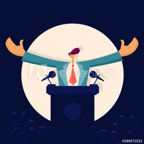 Politician speaking to audience. Debate clipart political man