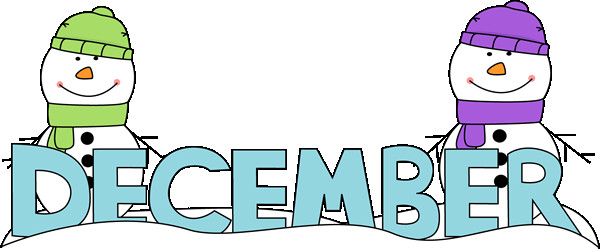 December clipart. Free and cute coloring