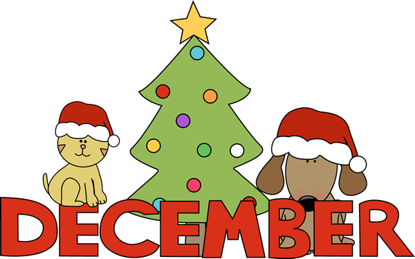 Month of christmas pets. December clipart