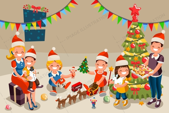 December clipart children's. Childrens christmas party cover