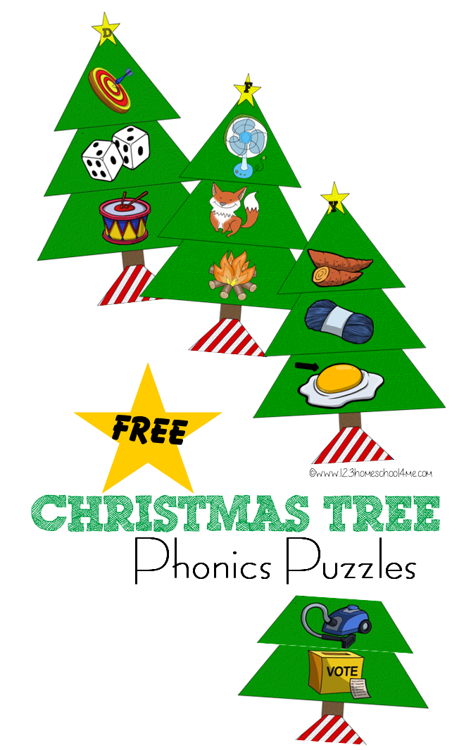 Phonics puzzles free printable. December clipart christmas tree