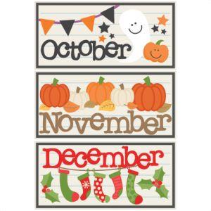 October november titles svg. December clipart cute
