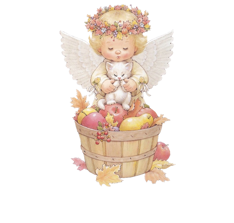 Angel with kitten free. December clipart cute