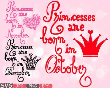 Princesses are born in. December clipart design