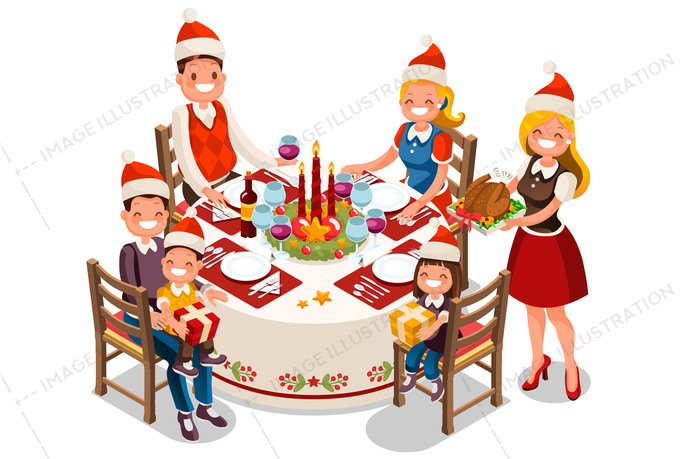 Family party illustration . Holiday clipart holiday dinner