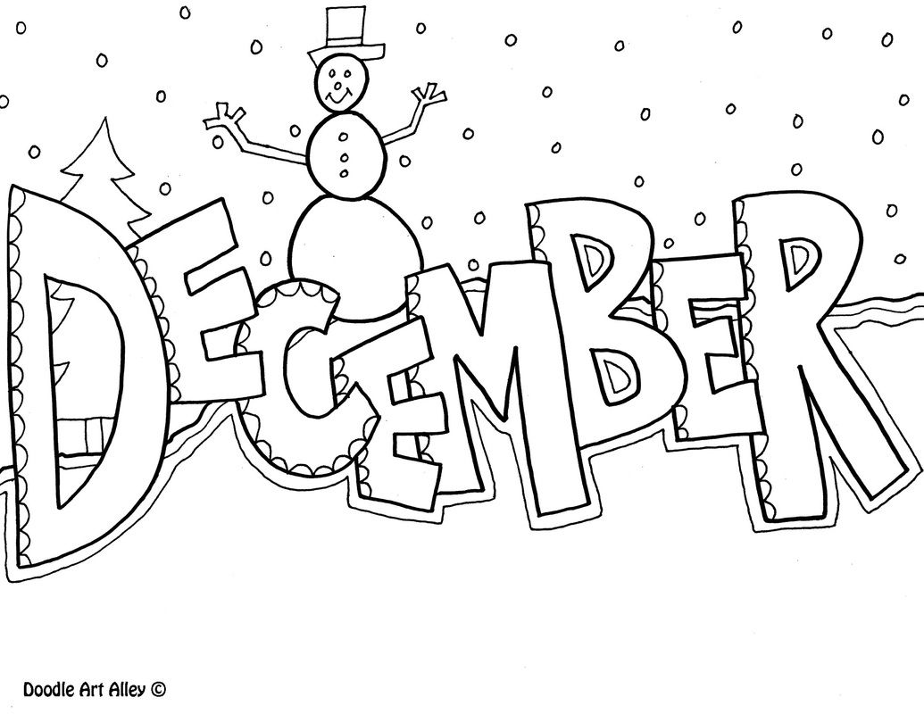 December clipart doodle. Coloring page planners and
