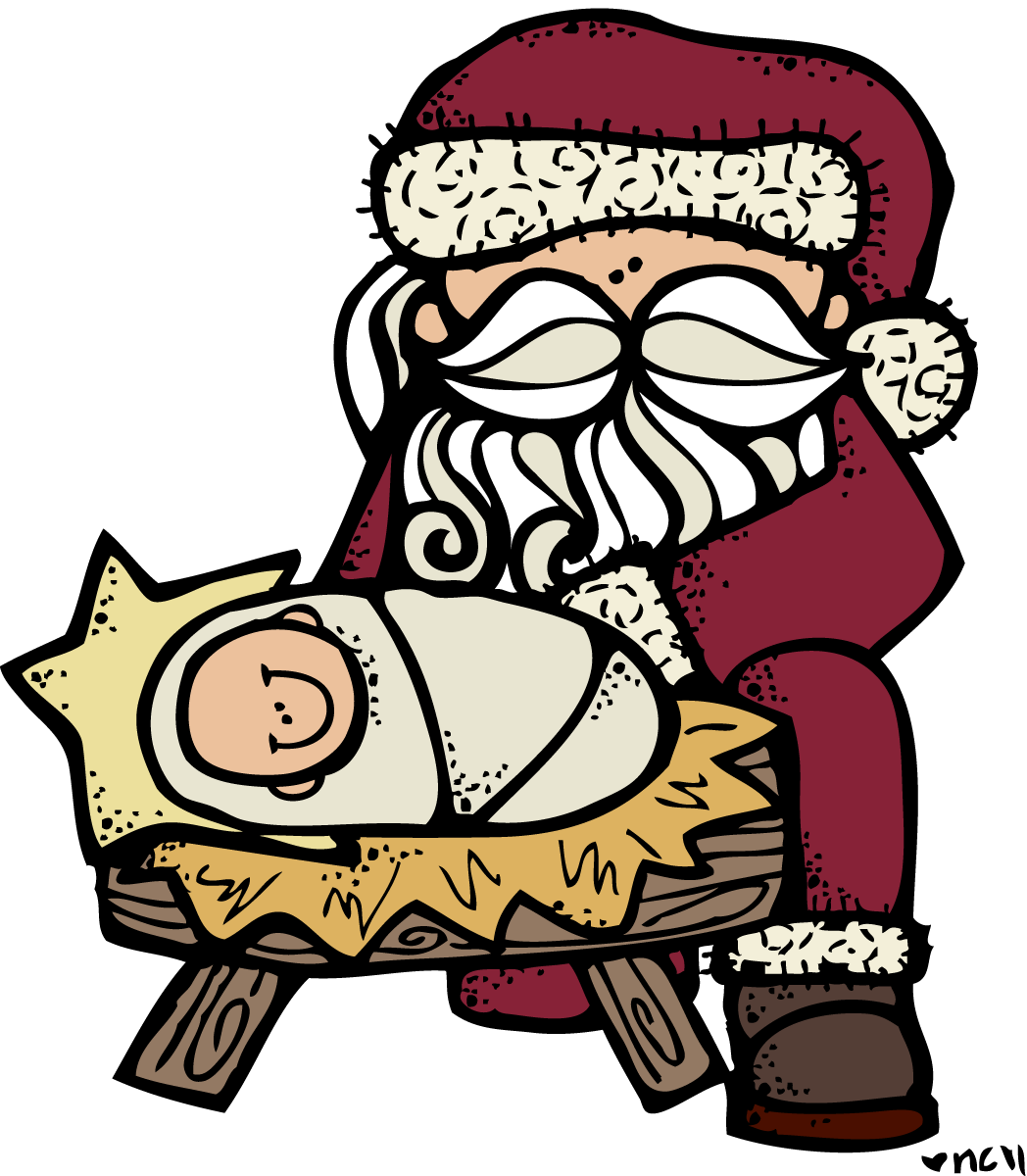 Santa and jesus pinterest. Melonheadz clipart christmas