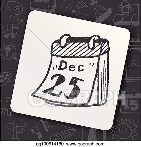 Vector art calendar drawing. December clipart doodle