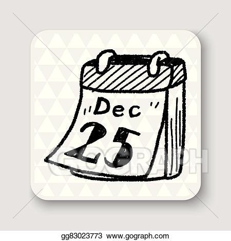 December clipart doodle. Vector art calendar drawing