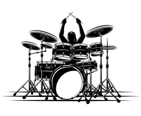 Set drummer silhouette graphics. Drum clipart svg