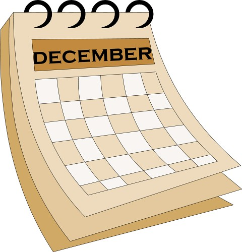 Calendar clip art library. December clipart simple