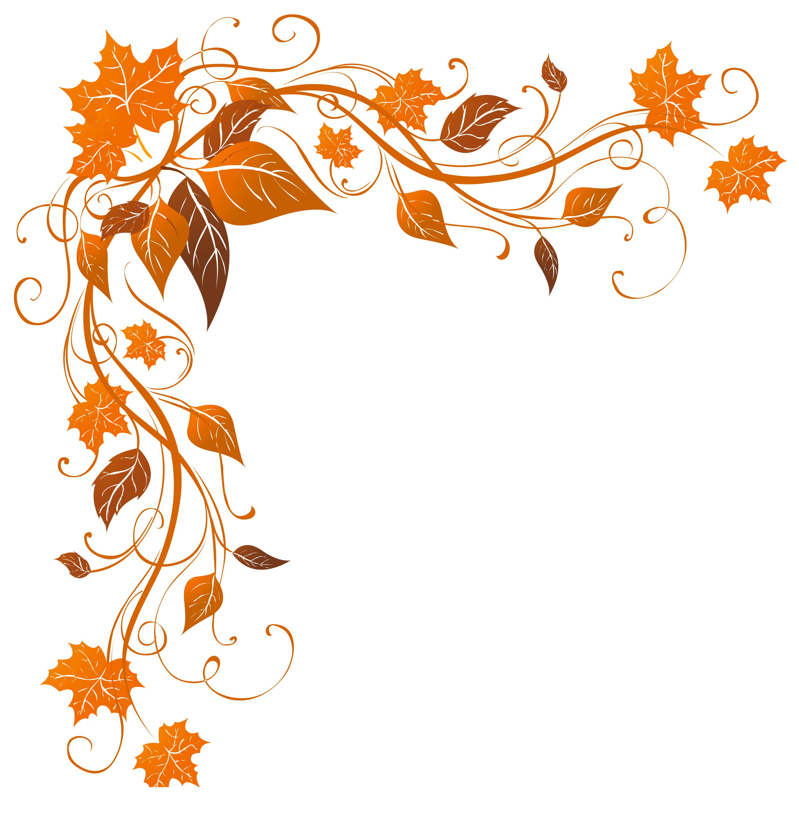 Transparent decoration png image. Autumn clipart corner