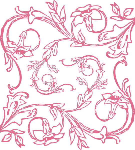 E clipart decorative. Decoration pretty pink swirl