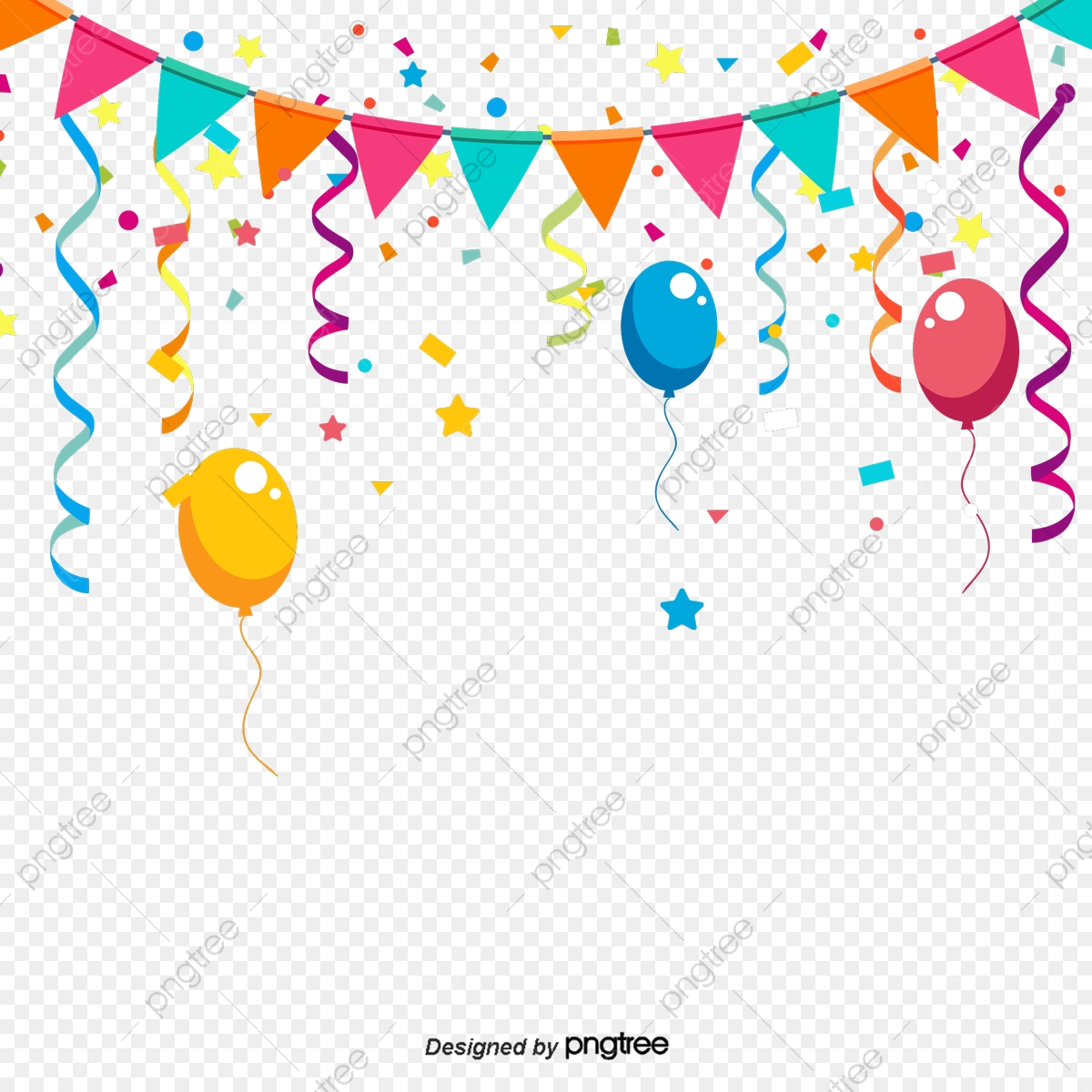 Colorful birthday decorations triangular. Decoration clipart cartoon party