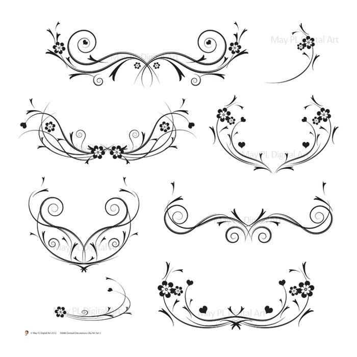 Black vines png featuring. Decorative clipart curly