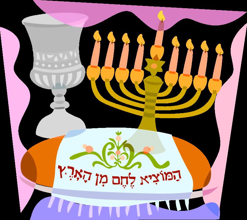 Decoration clipart hanukkah. Jewish menorah with chalice