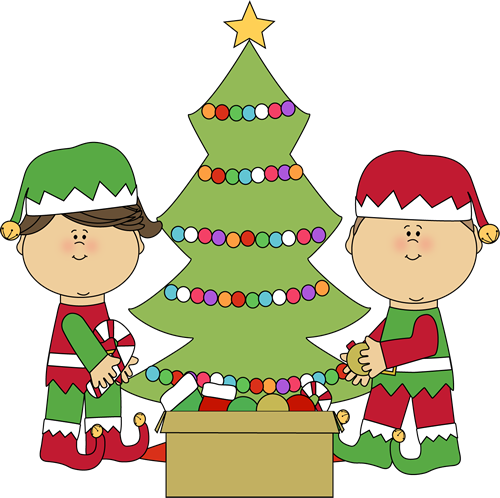 Free santa decorating cliparts. Elves clipart two
