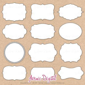 Decorative frames clip art. Label clipart scrapbook