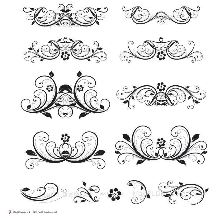 Flourishes clipart design line. Digital flourish clip art