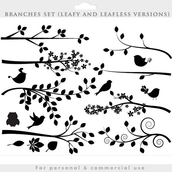 Silhouette tree clip art. Decorative clipart branch