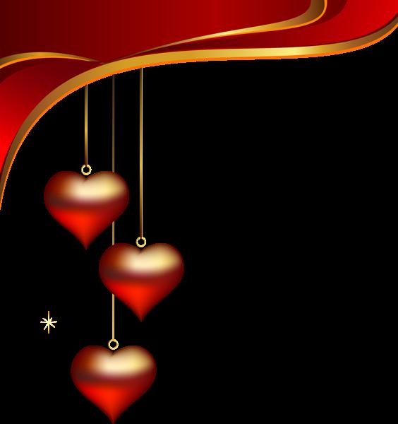 Decorative hearts pendants element. Scrapbook clipart valentine