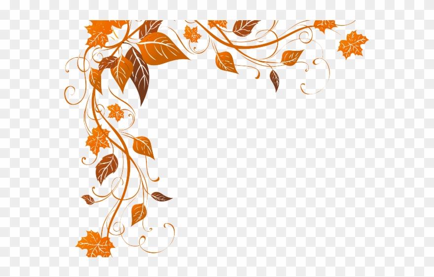 Decorations fall leaves corner. Decorative clipart november flower