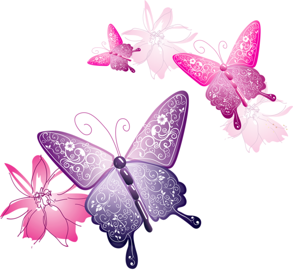 Res butterflies png by. Decorative clipart purple