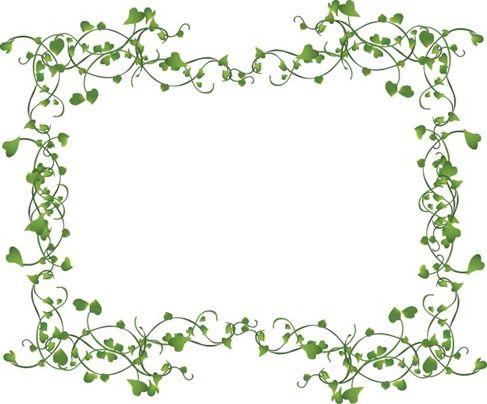 Ivy name vines frame. Decorative clipart vine