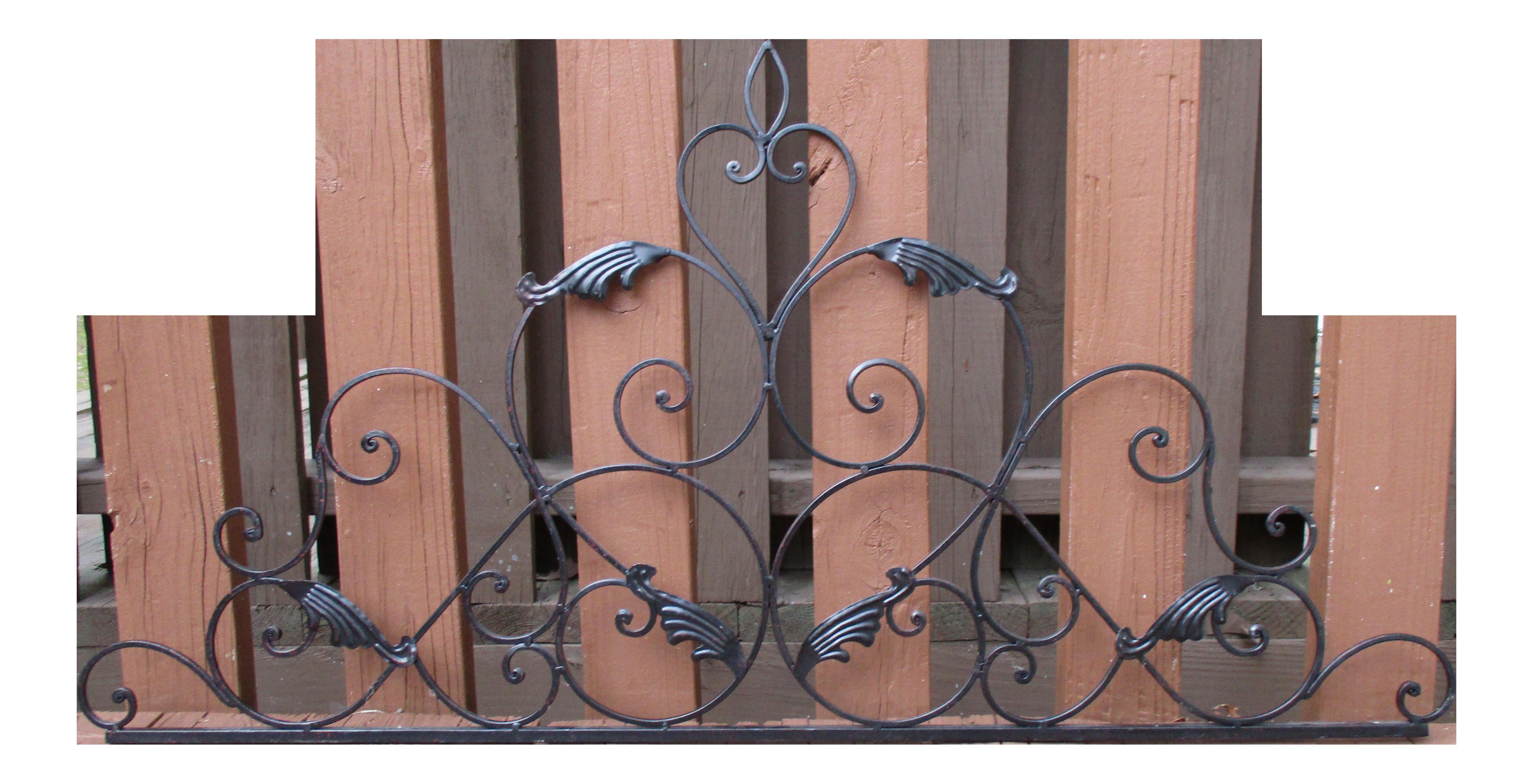 Black wrought iron headboard. French clipart wall art