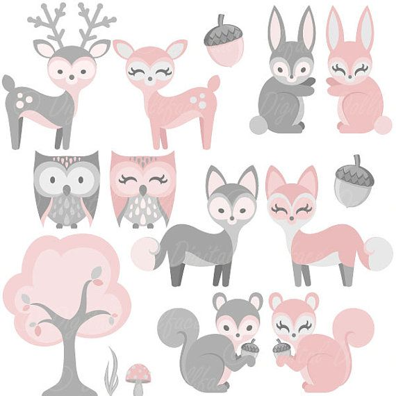 Pin by marie daly. Woodland clipart baby girl