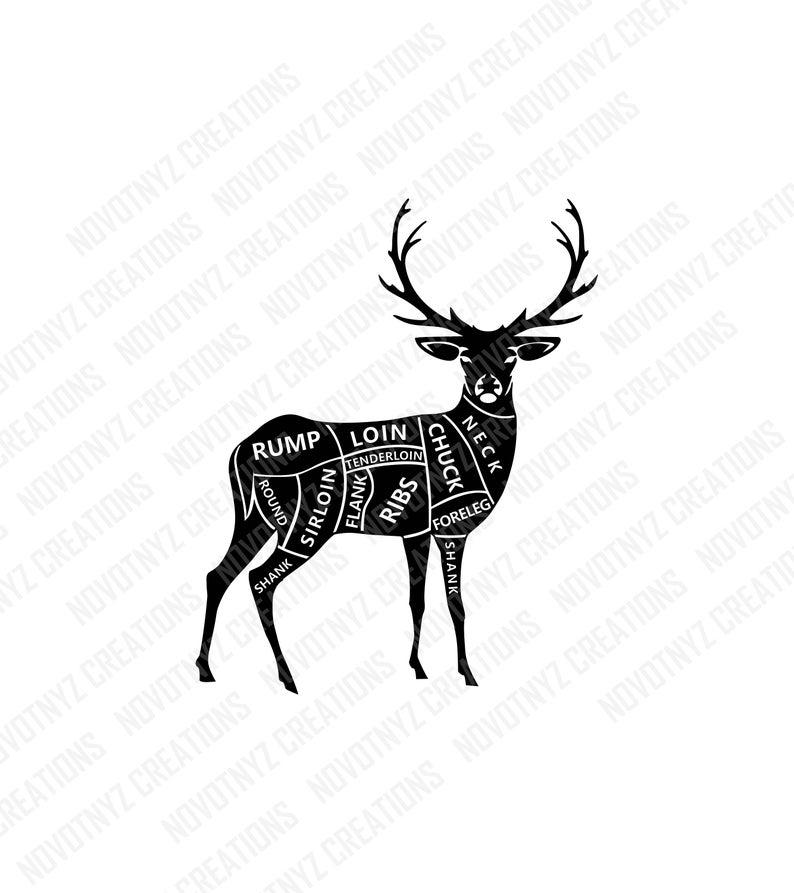 Deer clipart deer meat. Cuts svg butcher hunting