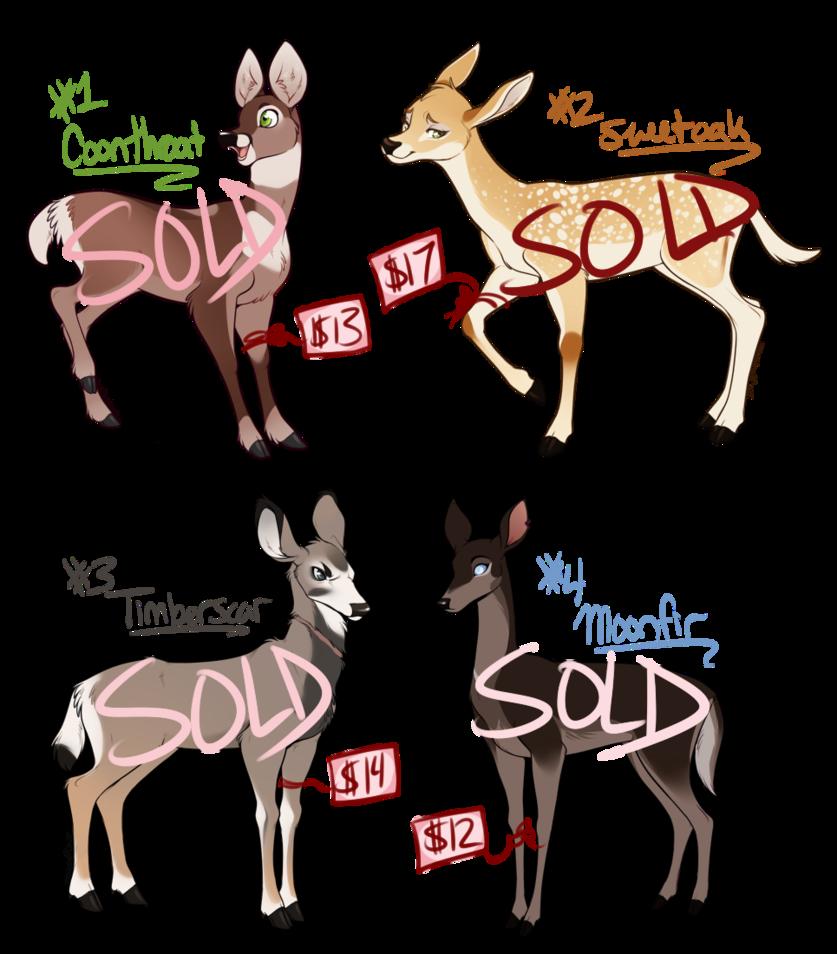 Deer adoptables batch sold. Woodland clipart buck