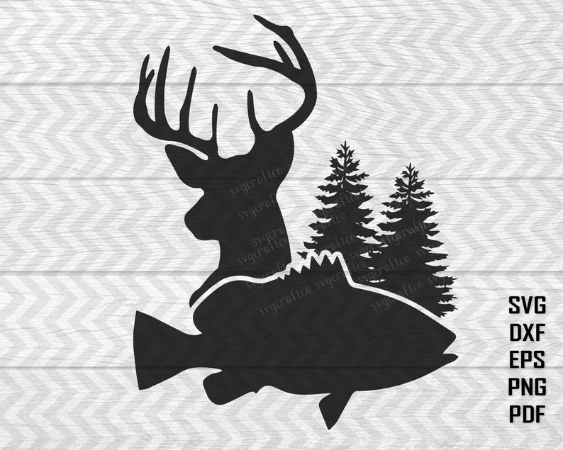 Hunting svg files for. Fish clipart deer