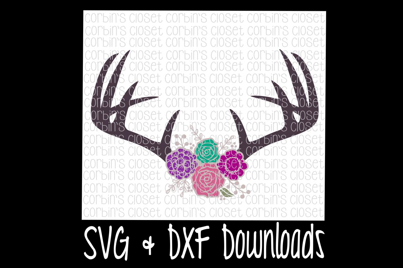 Antlers svg antique flowers. Floral clipart deer antler