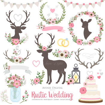 Pink and gold rustic. Deer clipart glitter