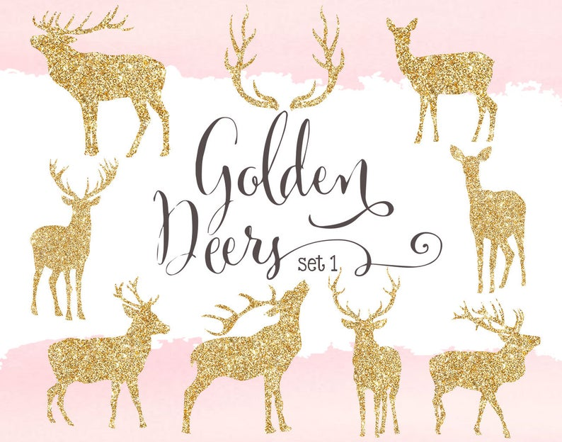 Golden cliparts gold silhouettes. Deer clipart glitter